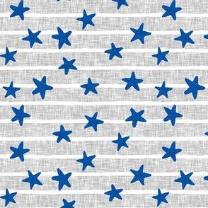 stars and stripes - blue on light grey - LAD19