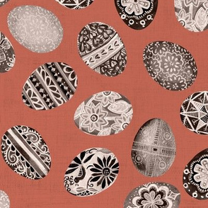 pysanka collection in rust sepia