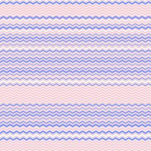 Peach color Zigzag stripe  with blue stripes