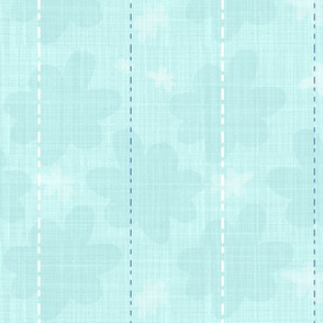 Mint Linen stripe and flower