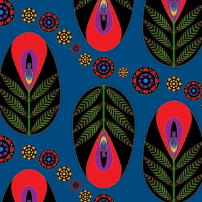 Pysanka Flower - Classic Blue & Red