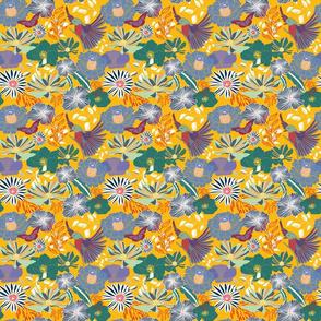bird and flower orange
