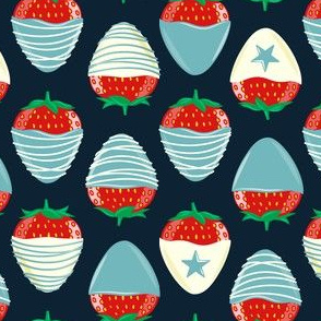 chocolate covered strawberries -  blue on navy - red white and blue LAD19