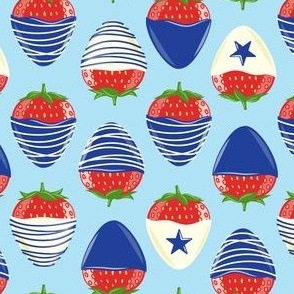 chocolate covered strawberries -  blue on light blue - red white and blue LAD19