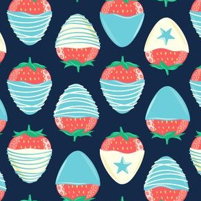 chocolate covered strawberries -  light blue on navy - red white and blue LAD19