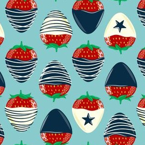 chocolate covered strawberries -  blue on dusty blue  - red white and blue LAD19