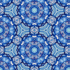 turkish rose iznik in painterly blues