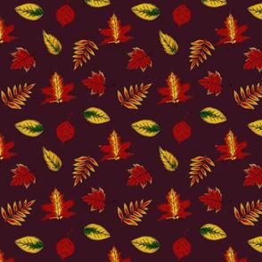 Fall Leaves maroon