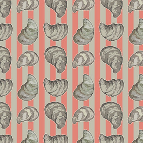 oyster on nan red and gray stripe