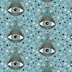 pysanky eye egg illuminati, small scale, blue green brown black white