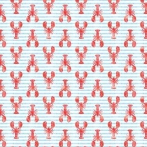 (micro scale) lobsters - red on blue stripes C19BS