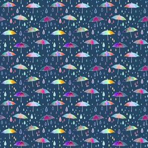 Umbrellas - dark teal background -smaller scale