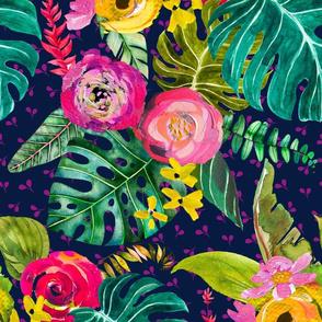 Boho Tropical Floral // Navy