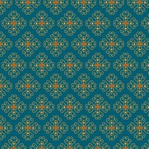 Compass: Lagoon Blue & Saffron Small Print