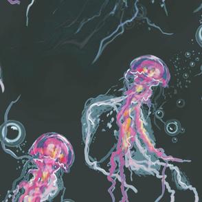 Vivid Pink and Black Jellyfish  Extra Large Design