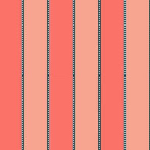 Coastal Stripe Coral Reef: Rosy Peach & Coral 1in Stripe