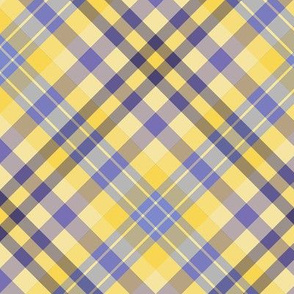 FNB1 - Large - Diagonal Lemon and Violet Tartan Plaid on the Diagonal