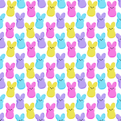 SMALL - peeps fabric - bunny, easter bunny, easter, easter candy fabric, pastel fabric - white
