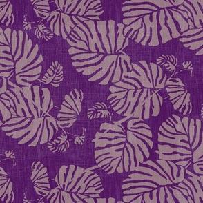 palm leaves on purple