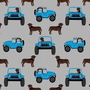 SMALL - chocolate labrador outdoors off-road adventure fabric - chocolate labrador, chocolate lab fabric, dog fabric, off-road fabric - blue