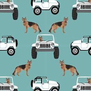 german shepherd dog fabric, dogs fabric off-road fabric, adventure dog fabric, cute dog fabric -  blue