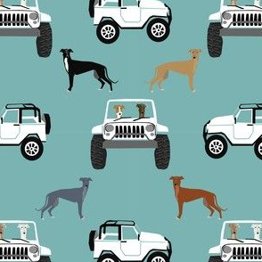 greyhounds adventure off-road dog fabric, dog fabric, greyhound fabric, dogs fabric - blue and white