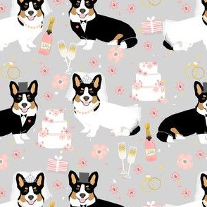 tricolored corgi wedding fabric - bride and groom fabric, dog wedding, corgi wedding, cute wedding fabric -  grey