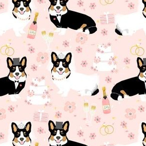 tricolored corgi wedding fabric - bride and groom fabric, dog wedding, corgi wedding, cute wedding fabric - pink