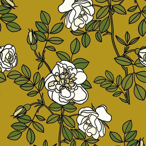 Climbing roses on ochre - small