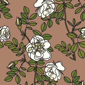 Climbing roses on rosy brown - small
