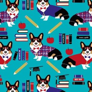 tricolored corgi teacher fabric - back to school fabric, dog fabric, dog breeds fabric, cute dog design -  teal