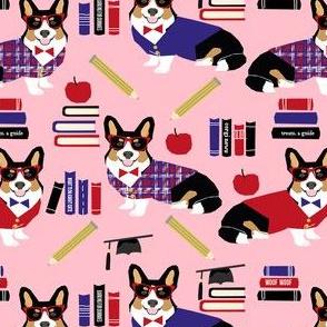 tricolored corgi teacher fabric - back to school fabric, dog fabric, dog breeds fabric, cute dog design -  pink