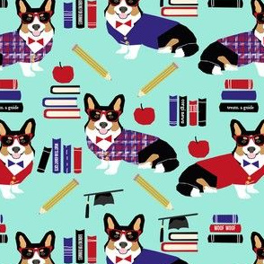 tricolored corgi teacher fabric - back to school fabric, dog fabric, dog breeds fabric, cute dog design - blue