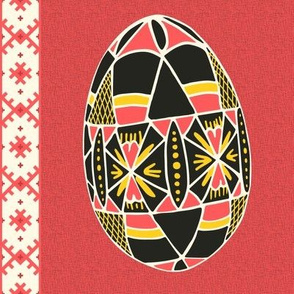 """Pysanky Egg on """"Linen"""" - Coral"""
