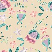 flores naif - doodle beige
