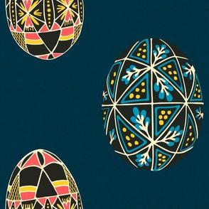 Pysanky Eggs on Linen