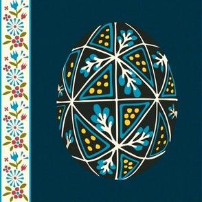 Pysanky Egg on Linen - Blue Topaz