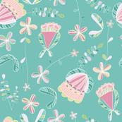 flores naif - doodle green