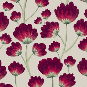 Rich Red Painterly Florals // Large Scale Wallpaper // Stacked Flower Pattern in Burgandy, Crimson, Magenta, Cream, Evergreen, Mint