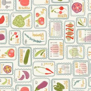 Farmer's Market Veggies 2020 TEA TOWEL Calendar // Artichoke, Fig, Pomegranate, Bell Pepper, Capsicum, Mushroom, Lettuce, Salad, Radish, Rosemary, Lavender, Carrot, Tomato, Jalapeno, Onion, Pumpkin, Squash, Eggplant // Healthy Living
