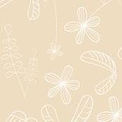 flores naif - simple beige
