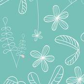 flores naif - simple green
