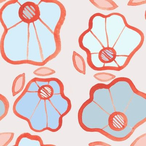 Blue & Peach Flowers