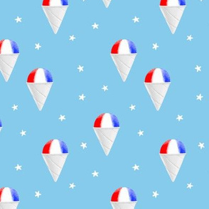 Red White and Blue snow cones - light blue with stars - LAD19