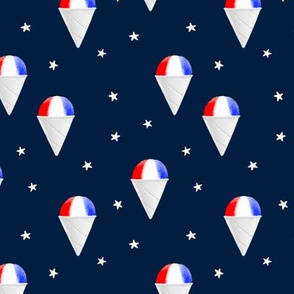 Red White and Blue snow cones - navy with stars - LAD19