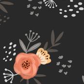 Floral Peach Garden-DarkGray