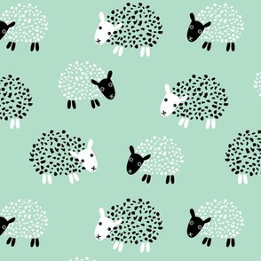 Scandinavian sweet sheep and goat illustration for kids gender neutral mint green