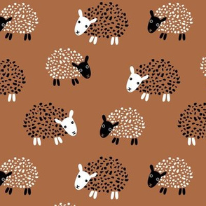 Scandinavian sweet sheep and goat illustration for kids gender neutral copper brown