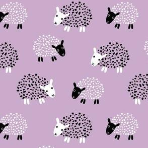 Scandinavian sweet sheep and goat illustration for kids girls lilac violet