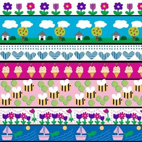 Stripes of Summer / bees - Icecream - Boats / blue - pink - green